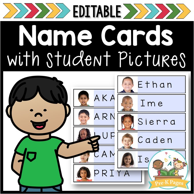 Free Editable Name Cards with student pictures