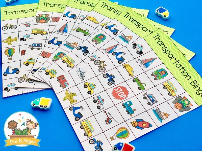 Printable Transportation Bingo for Preschool