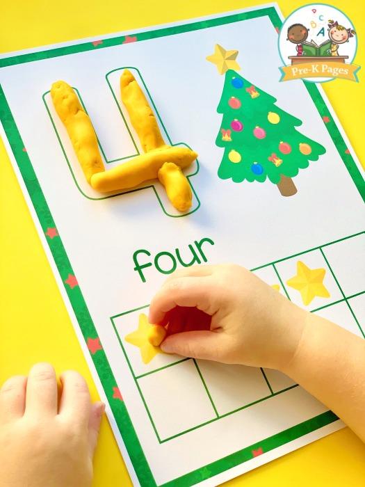 Christmas Play Dough Counting Mats