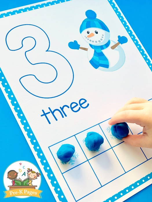 Printable Winter Play Dough Mats