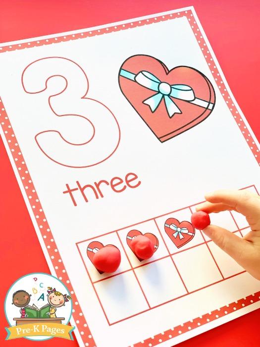 Valentine Heart Play Dough Mats