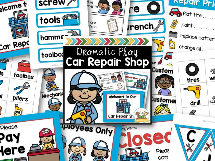 Car Repair Shop Dramatic Play Theme