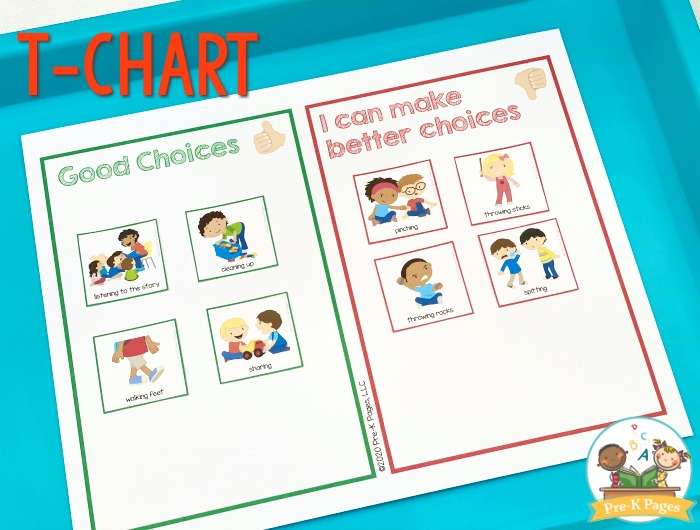 Making Good Choices T Chart for Preschool