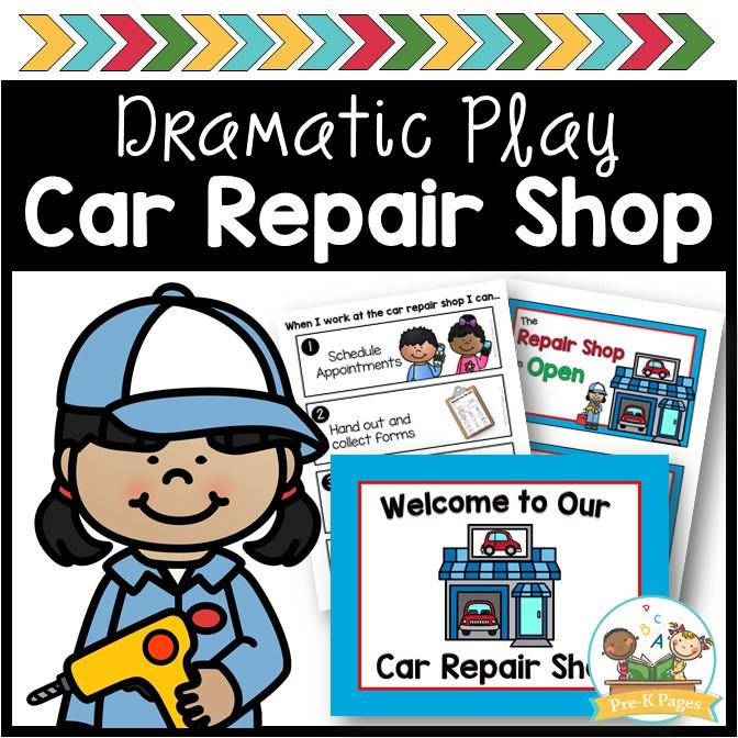Auto Shop Car Repair Dramatic Play Theme