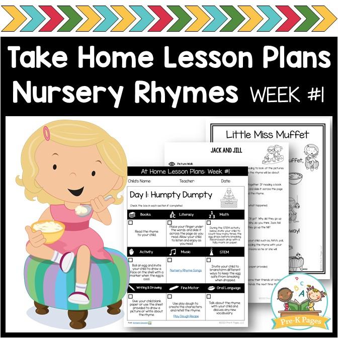 Take Home Lesson Plans Nursery Rhymes Week 1