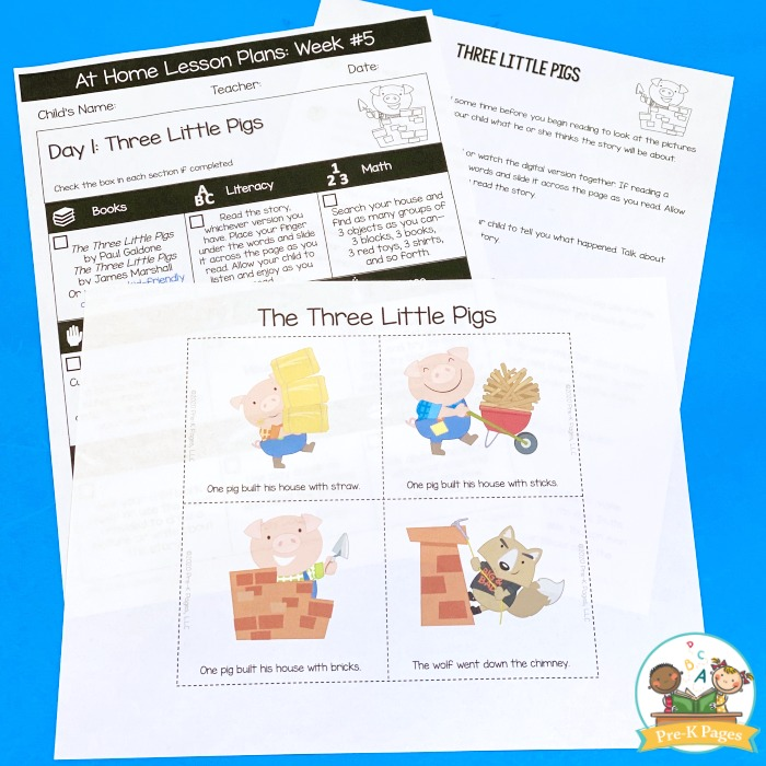 3 Little Pigs Take Home Lesson Plans
