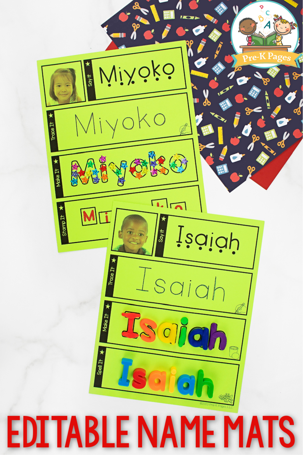 Editable Name Mats for Preschool
