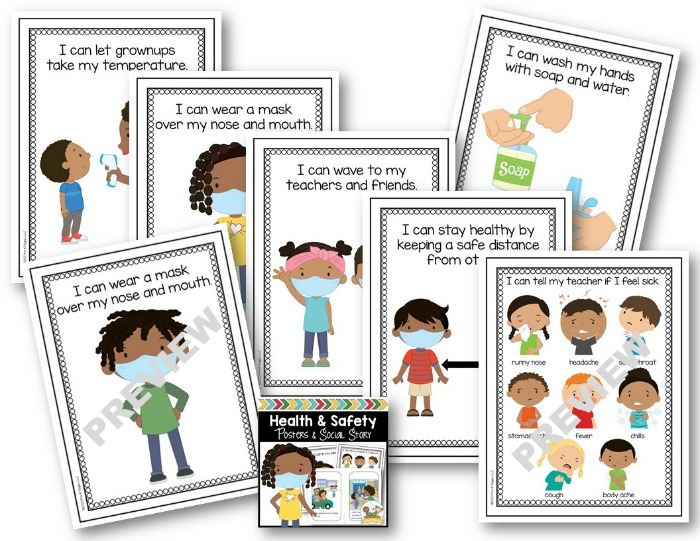 Health and Safety Posters for Preschool COVID