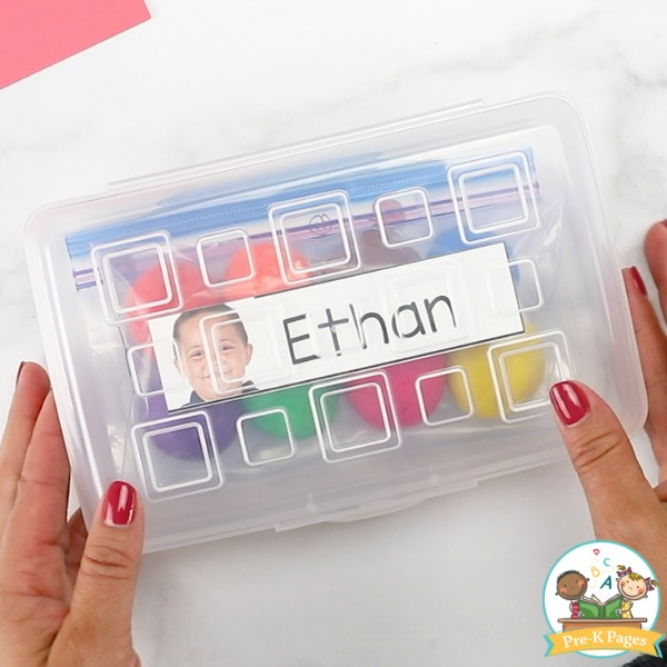 Play Dough Task Cards in Pencil Box