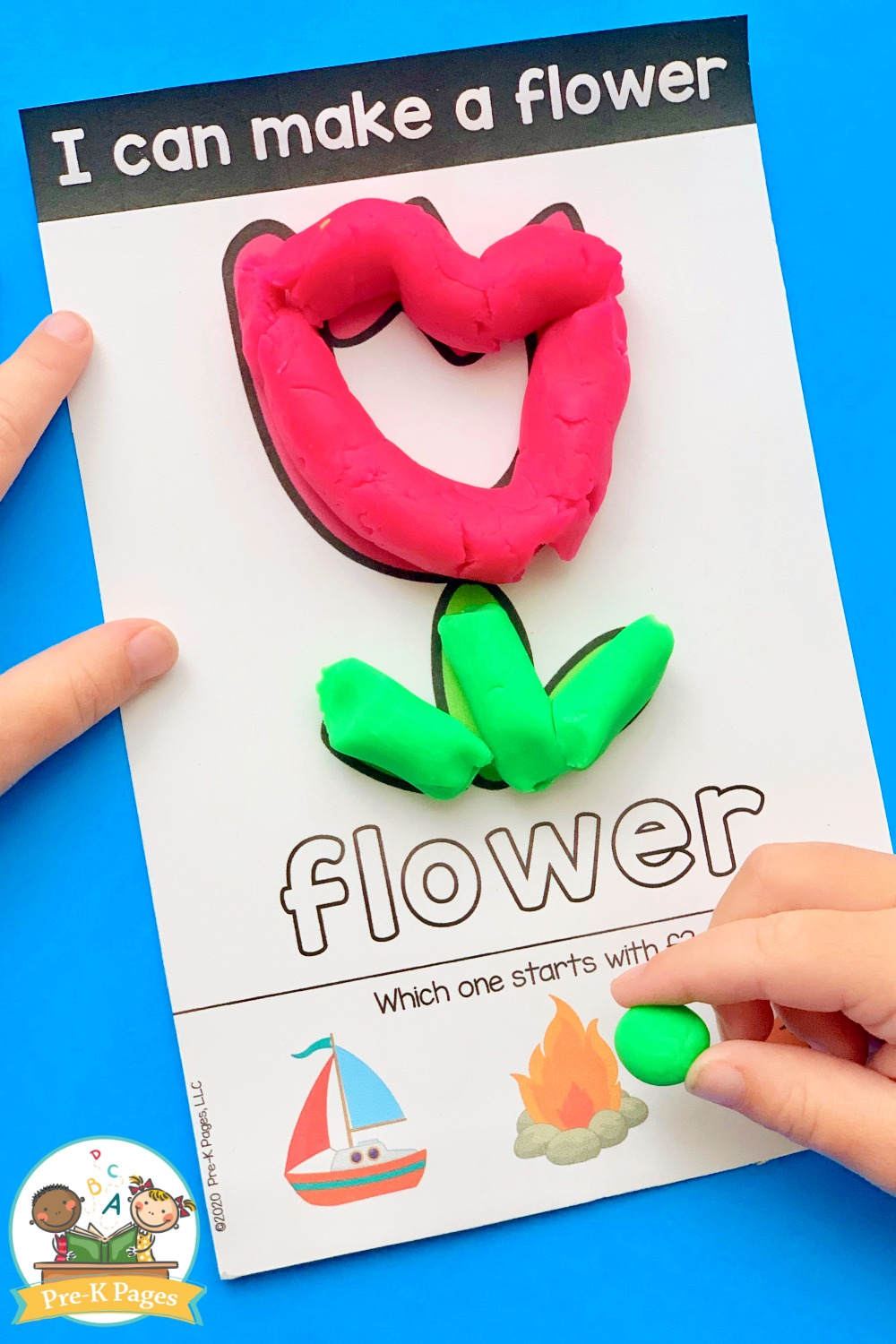 Making a flower with play dough