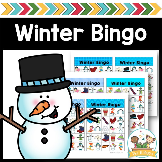 Printable Winter Bingo Game for Preschoolers