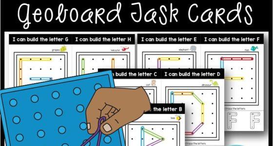 Letter Geoboard Task Cards – Alphabet Fine Motor