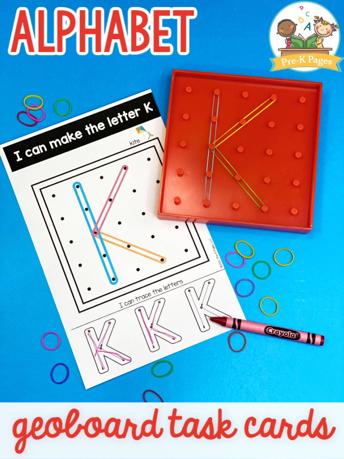 Geoboards with loom bands for letter formation practice