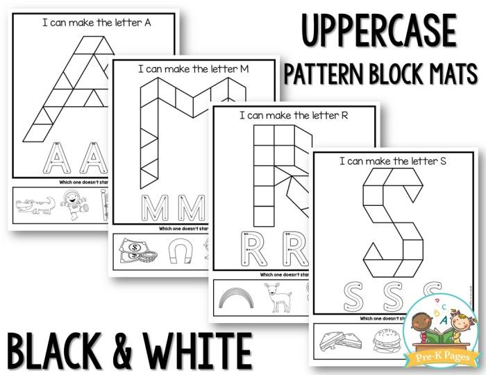 Alphabet Pattern Block Mats black white