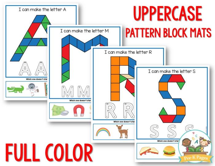 Alphabet Pattern Block Mats color