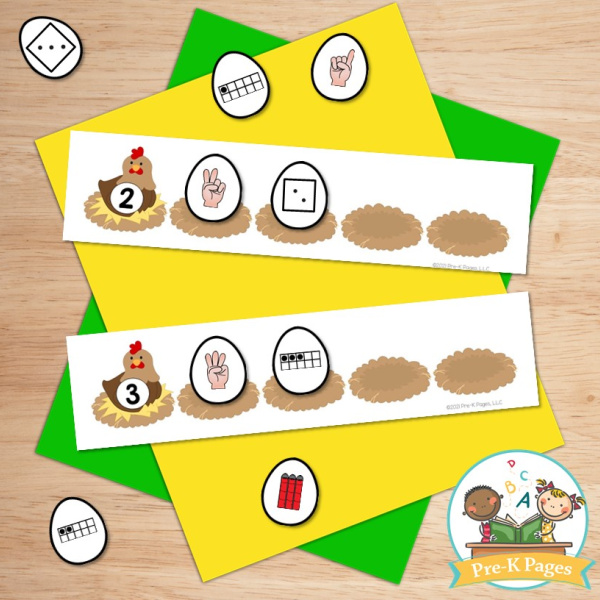 Farm Number Sense Activity; counting; numbers; numerals; chicken; eggs; nest