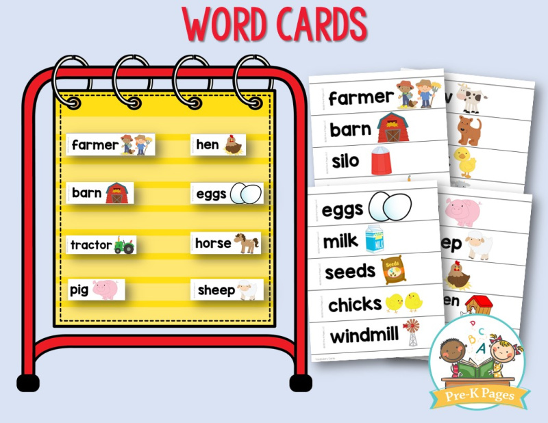 Farm Theme Word Cards