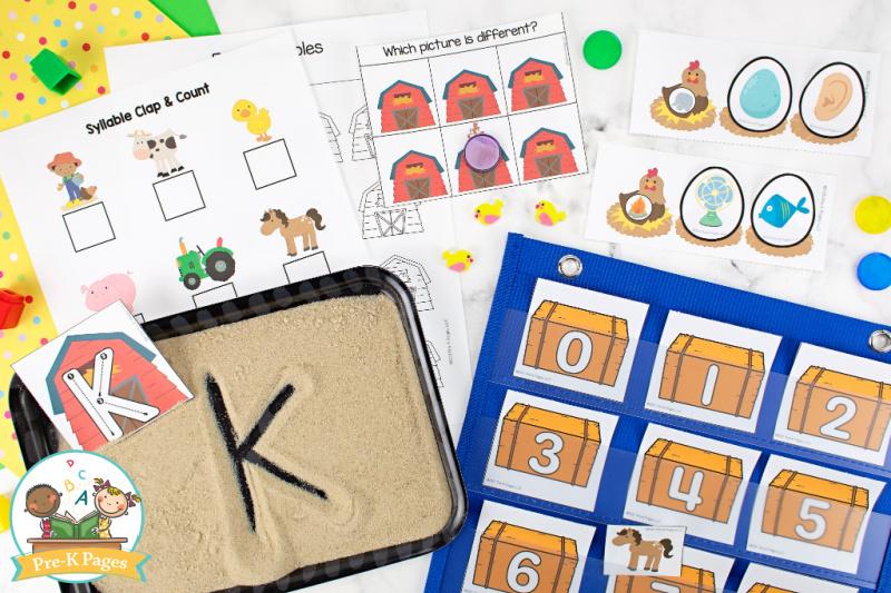 Farm Theme Literacy and Math Activities