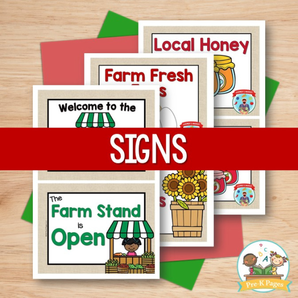 Farmers Market Signs for Dramatic Play