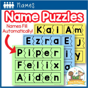 Editable Name Puzzle Templates