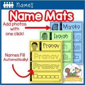 Editable Name Practice Mats