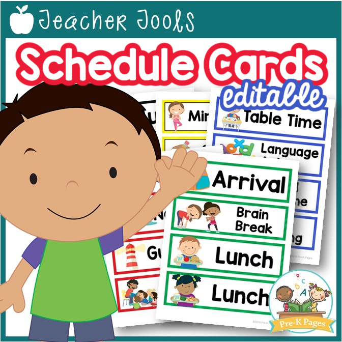 Editable Picture Schedule Cards for Preschool