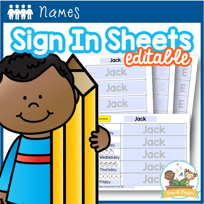 Editable Sign In Sheets for Name Practice