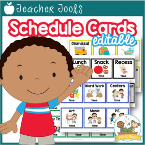 Editable Picture Schedule Cards with Times (Square)