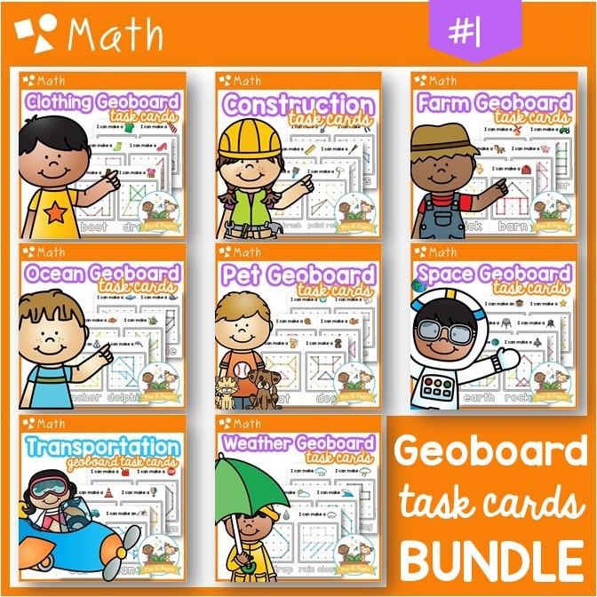 Geoboard Task Cards Bundle Themes