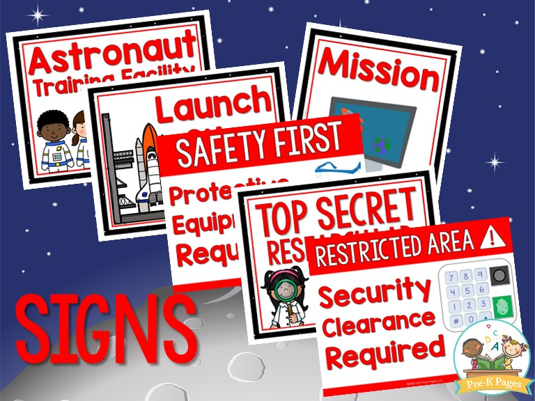 Space Dramatic Play Signs for Preschool by Pre-K Pages