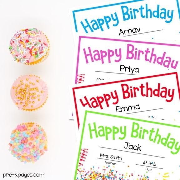 Birthday Certificates for Preschool