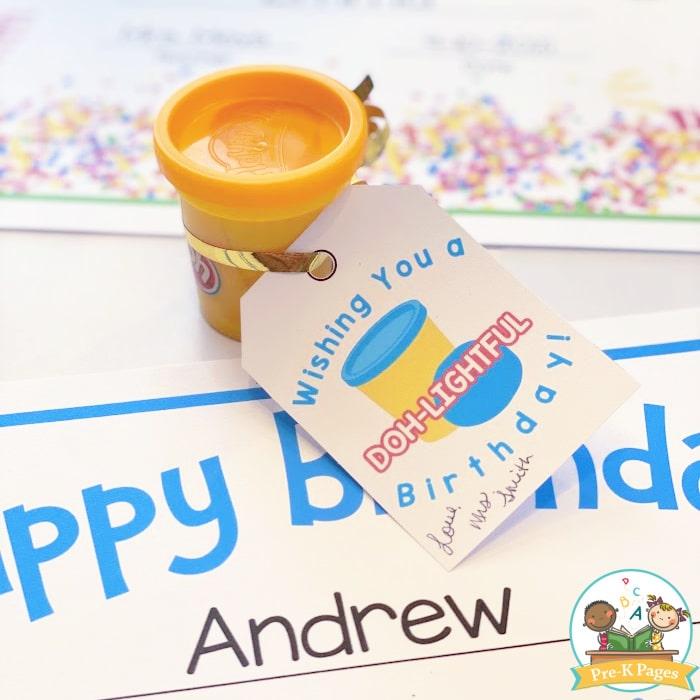 Birthday Gift Tag printable for play doh